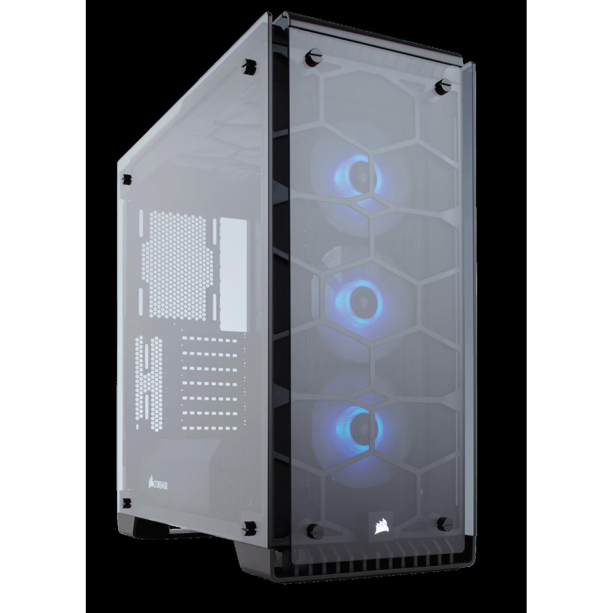Gabinete Gamer Corsair Crystal 570X RGB, Mid Tower, Com 3 Fans, Vidro Temperado, Black, S-Fonte, CC-9011098-WW
