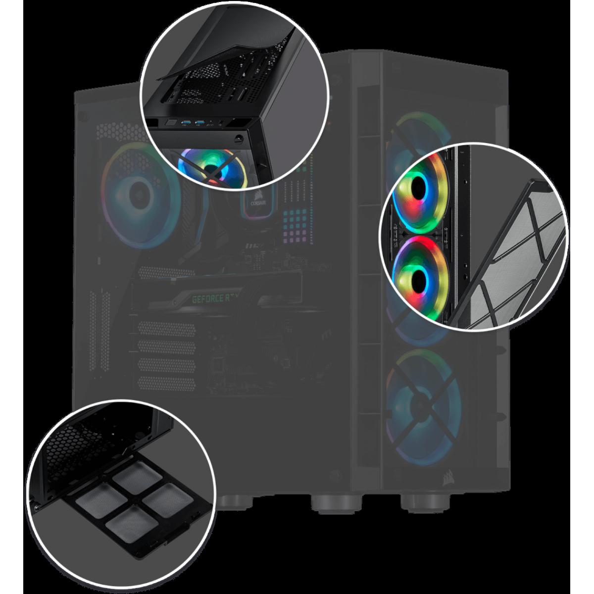 Gabinete Gamer Corsair iCue 465X, Mid Tower, Com 3 Fans, Vidro Temperado, Black, Sem Fonte, CC-9011188-WW