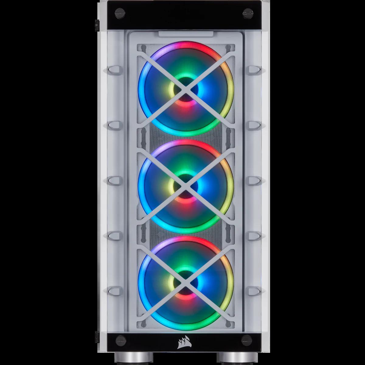 Gabinete Gamer Corsair, iCue 465X RGB, Mid Tower, Vidro Temperado, ATX, White, CC-9011189-WW, Sem Fonte, Com 3 Fans, CC-9011189-WW