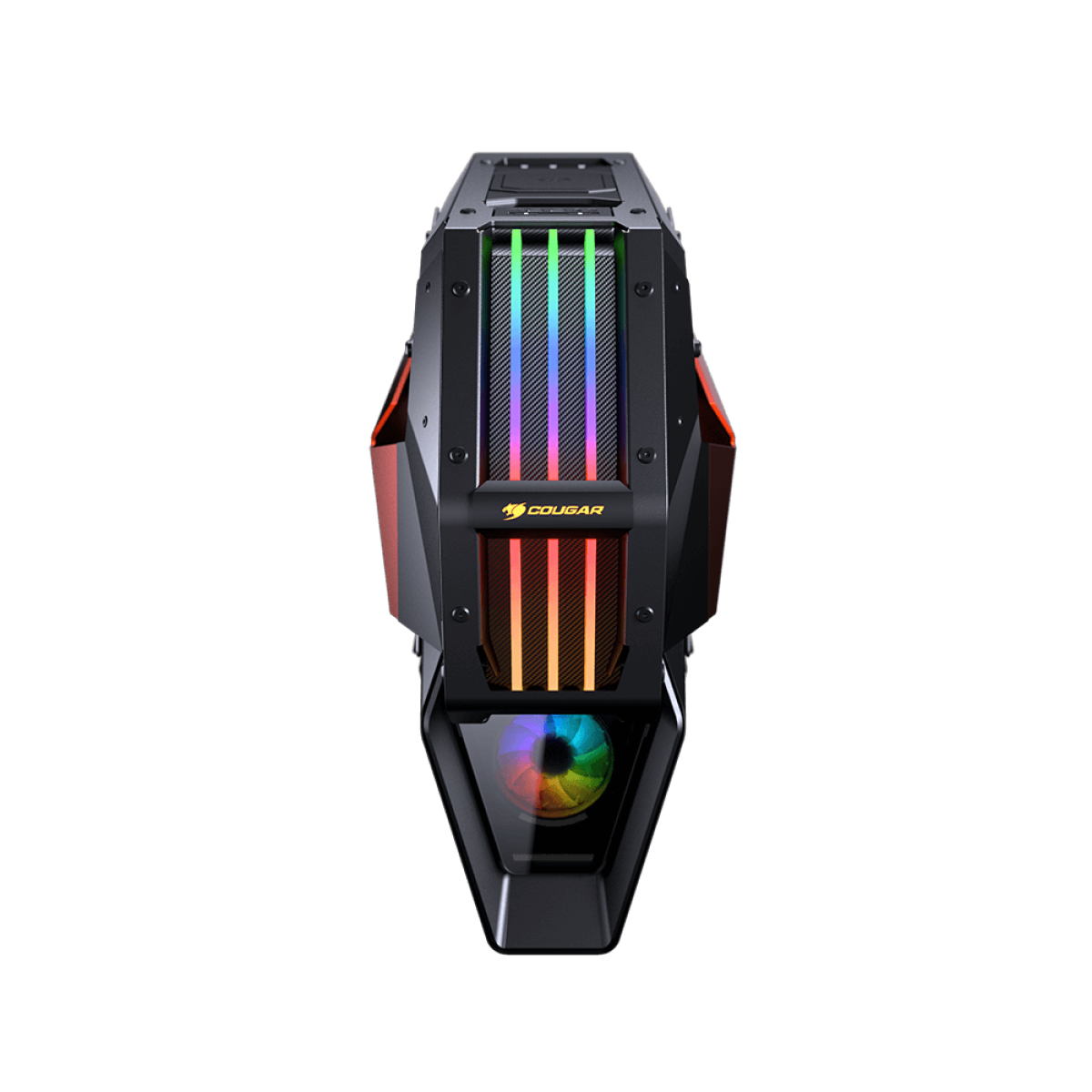 Gabinete Gamer Cougar Conquer 2, Full Tower, RGB, Vidro Temperado, Black/Orange, ATX, Sem Fonte, Com 1 Fan, 109CM10001-02
