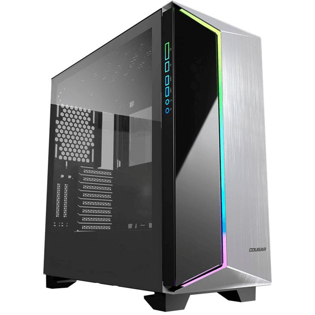 Gabinete Gamer Cougar Dark Blader G RGB, Full Tower, Vidro Temperado, Black, Sem Fonte, Com 1 Fan