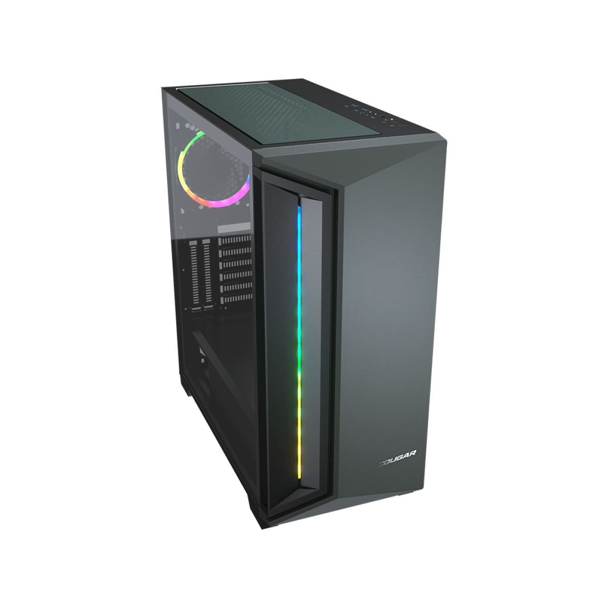Gabinete Gamer Cougar DarkBlader X7, Mid Tower, Vidro Temperado, RGB, Midnight Green, Com 1 Fan, Sem Fonte, 385UM30-0005