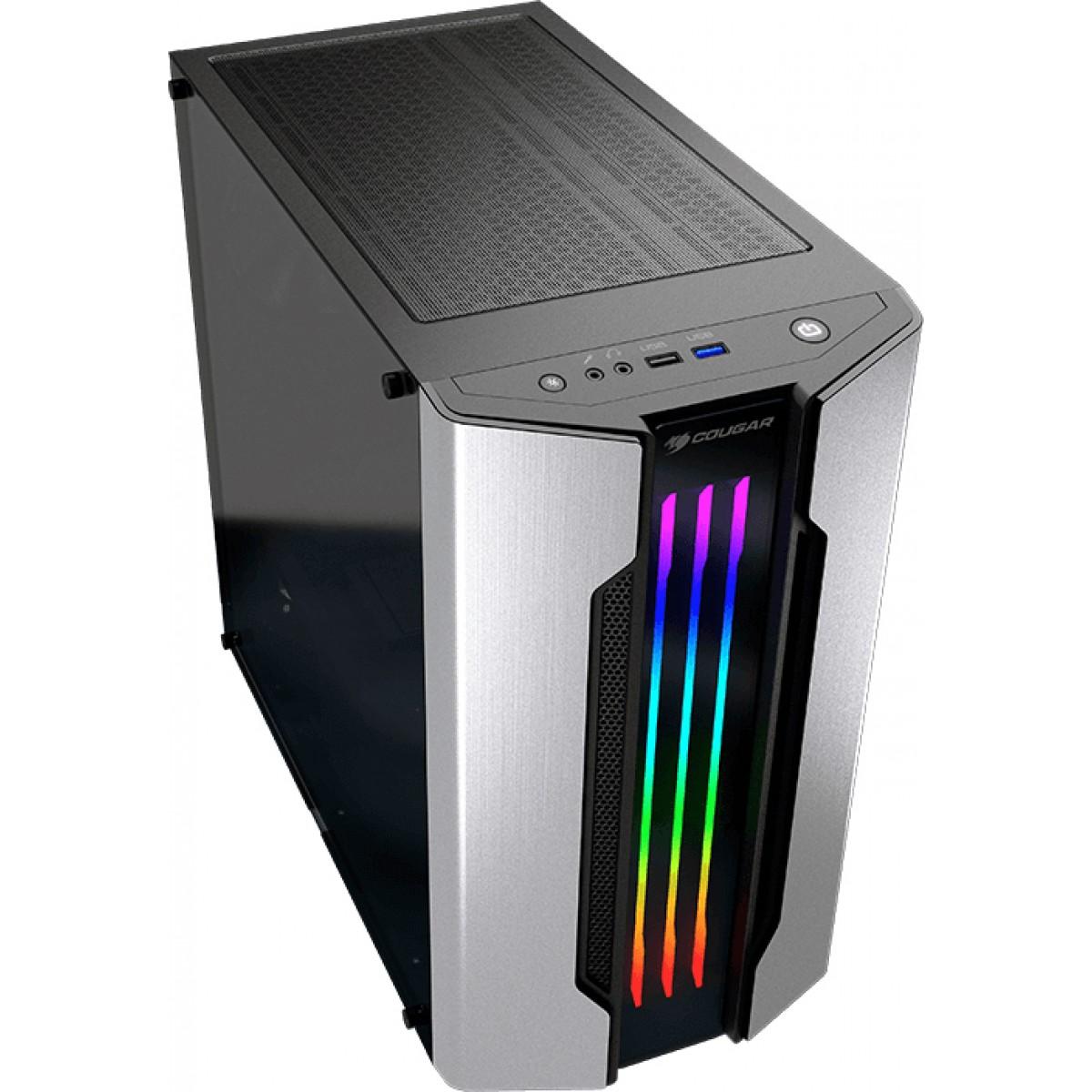Gabinete Gamer Cougar Gemini M Silver, Mini Tower, Vidro Temperado, Silver, Sem Fonte, Com 1 Fan