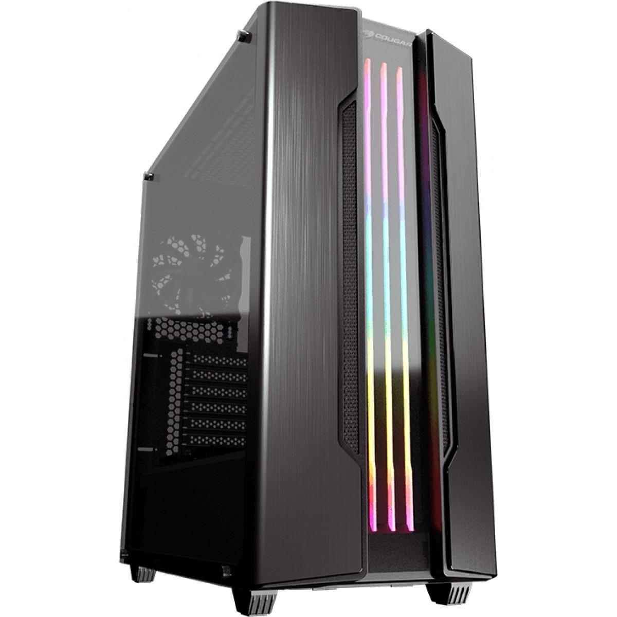 Gabinete Gamer Cougar Gemini S Iron Grey, Mid Tower, Vidro Temperado, Black, Sem Fonte, Com 1 Fan, 385BMB0-0001