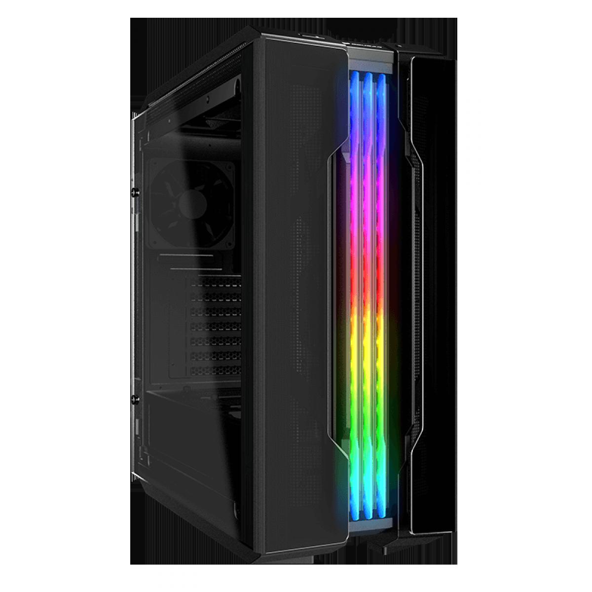 Gabinete Gamer Cougar Gemini T Pro, Mid Tower, Vidro Temperado, ARGB, Black, Com 1 Fan, Sem Fonte, 106KMT0008-00