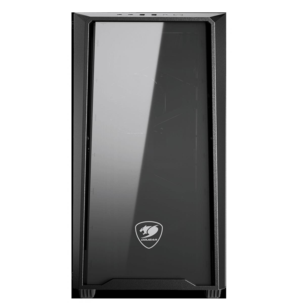 Gabinete Gamer Cougar MG120-G, Mini Tower, Vidro Temperado, Black, mATX, Sem Fonte, Com 1 Fan, 385TMZ0-0002