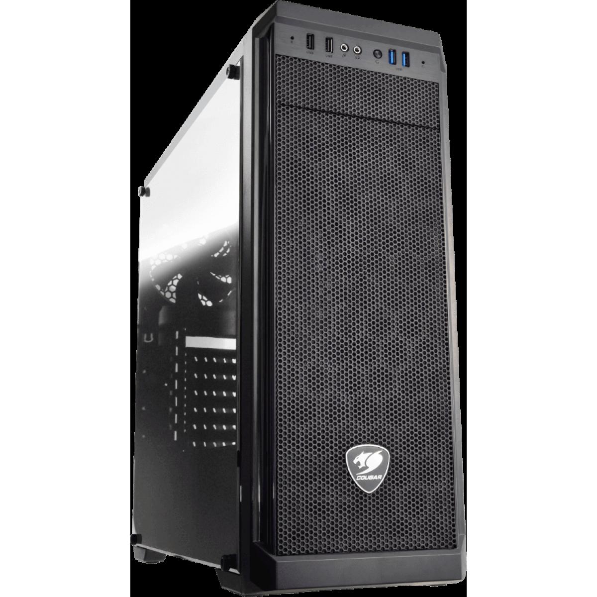 Gabinete Gamer Cougar MX330-G 385NC10.0006 Vidro Temperado Mid Tower Preto Sem Fonte, 385NC10-0006