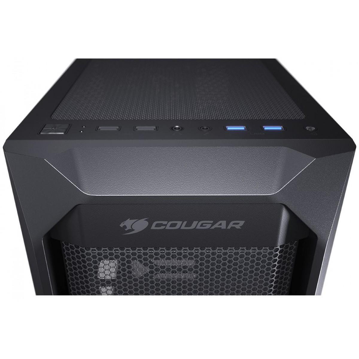 Gabinete Gamer Cougar MX410 Mesh-G, Mid-Tower, Vidro Temperado, Sem fonte, Com 1 Fan