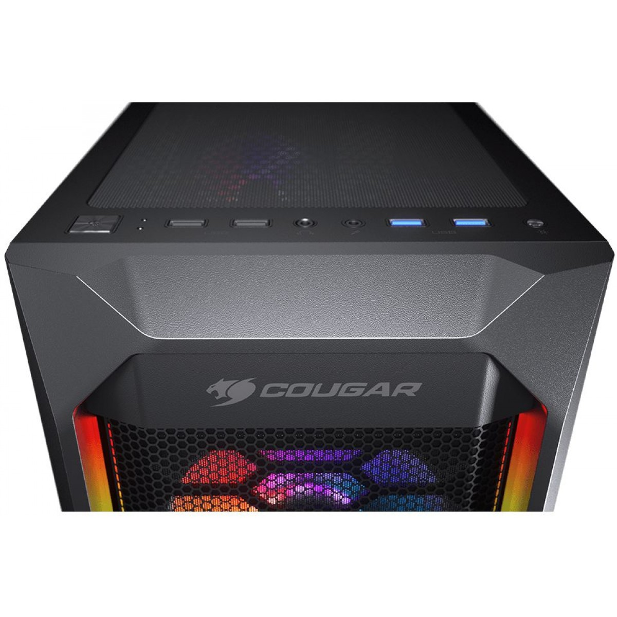 Gabinete Gamer Cougar, MX410 Mesh-G RGB, Mid-Tower, Vidro Temperado, Black, Sem Fonte, Com 4 Fans