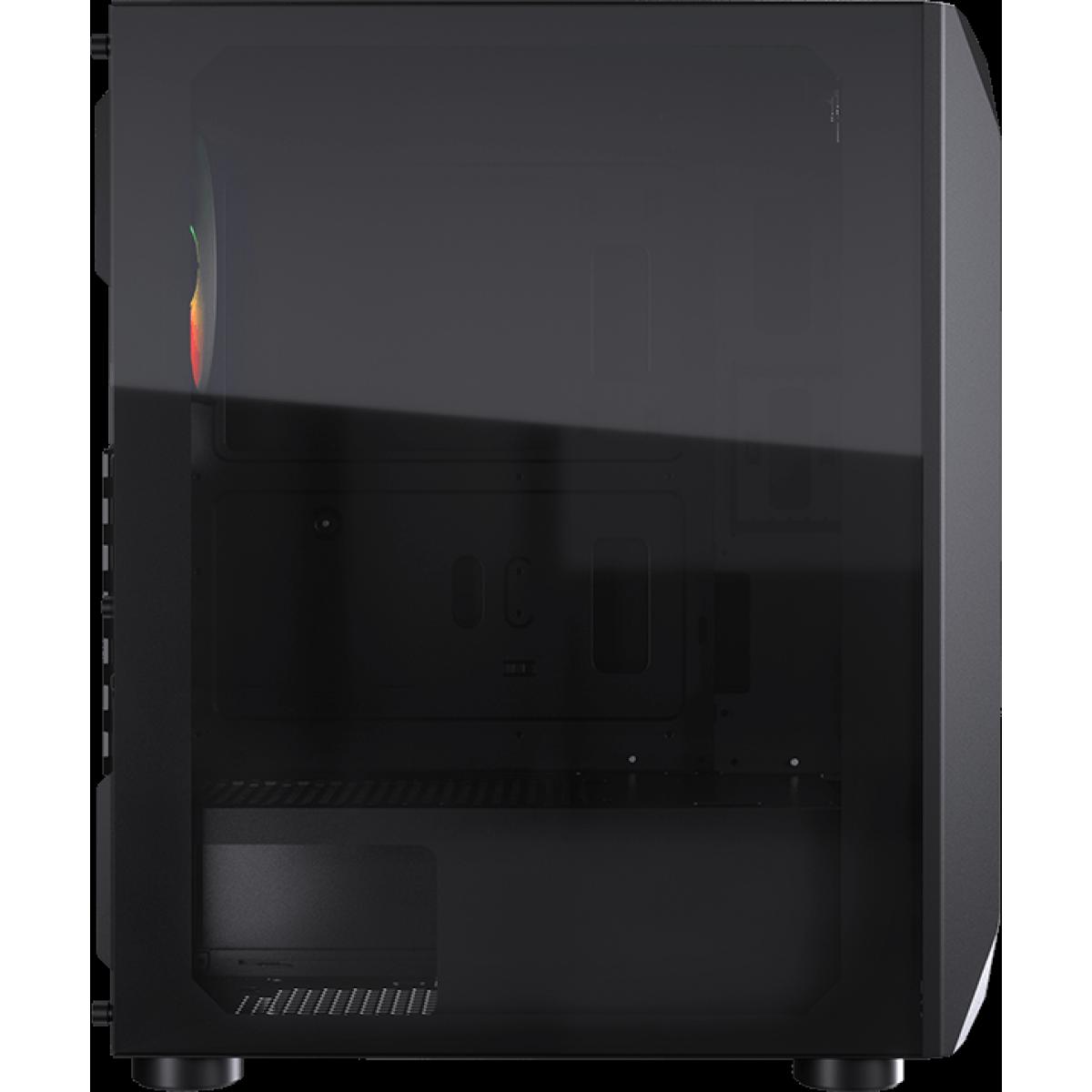 Gabinete Gamer Cougar, MX410-T, Mid-Tower, Vidro Temperado, Black, Sem Fonte, Com 1 Fan