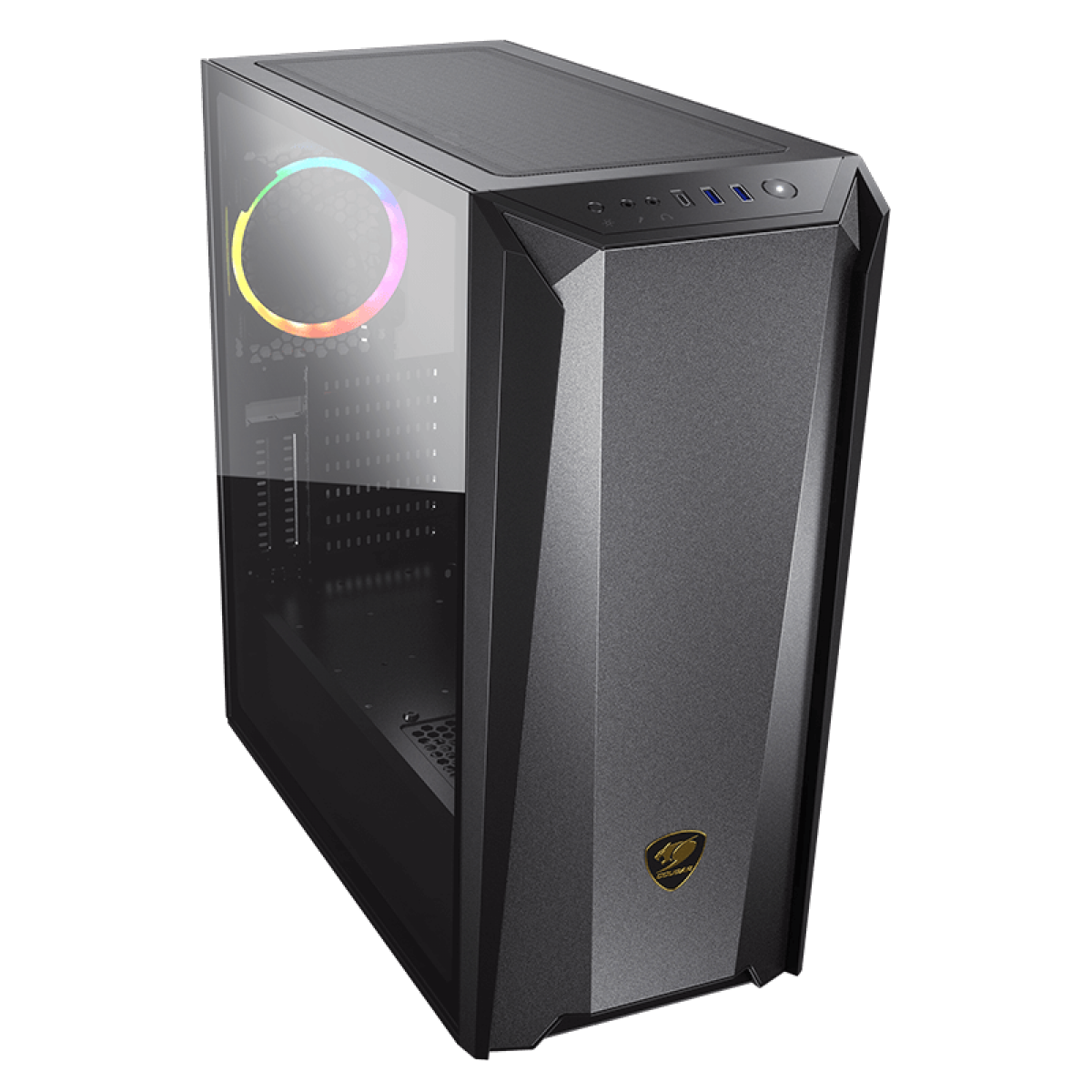 Gabinete Gamer Cougar MX660 Iron RGB, Mid Tower, Vidro Temperado, Black, ATX, Sem Fonte, Com 1 Fan, 385BMS0-0006