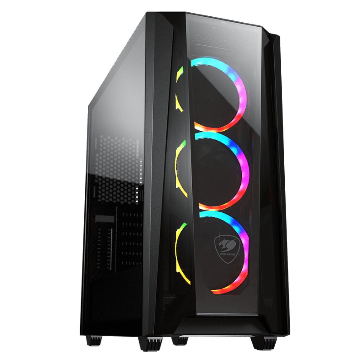 Gabinete Gamer Cougar MX660-T RGB, Mid Tower, Vidro Temperado, Black, ATX, Sem Fonte, Com 3 Fans, 385BMS0-0005