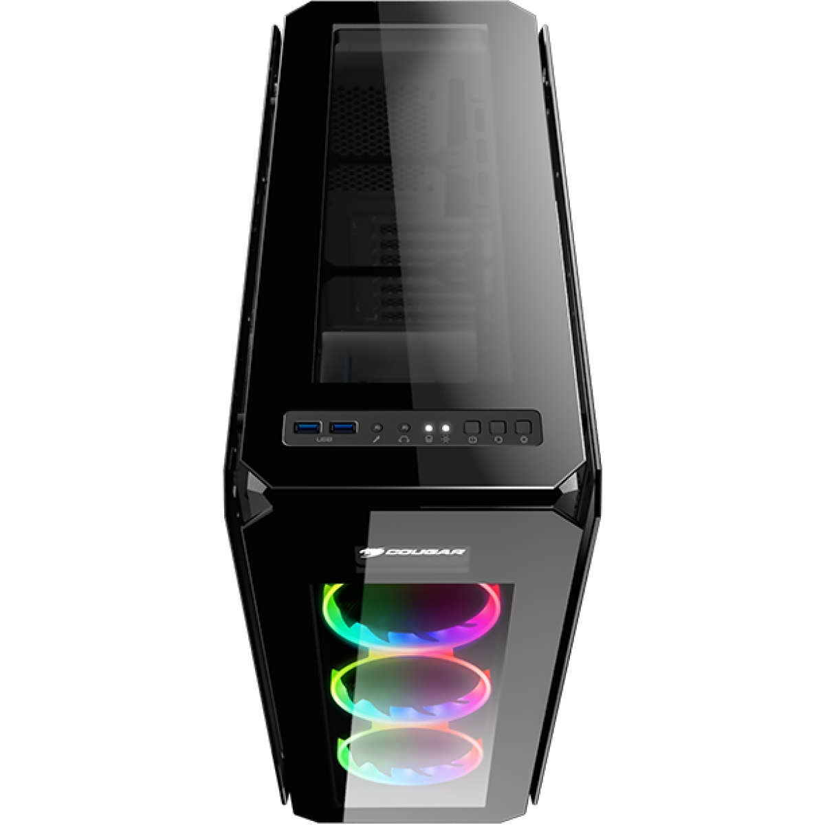 Gabinete Gamer Cougar Puritas RGB, Mid Tower, Com 3 Fans, Vidro Temperado, Black, Sem Fonte
