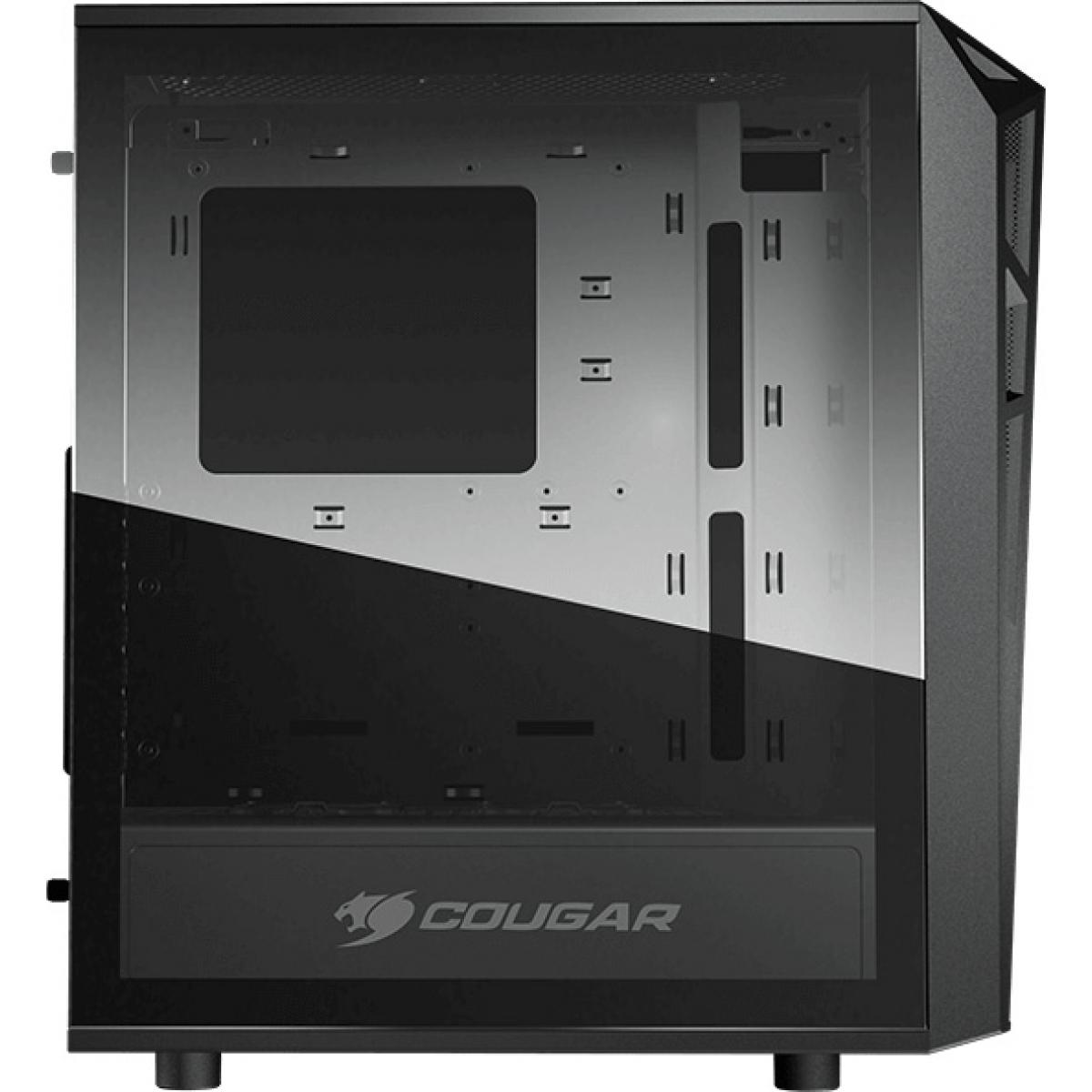Gabinete Gamer Cougar Turret RGB, Mid Tower, Com 2 Fans, Vidro Temperado, Black, Sem Fonte