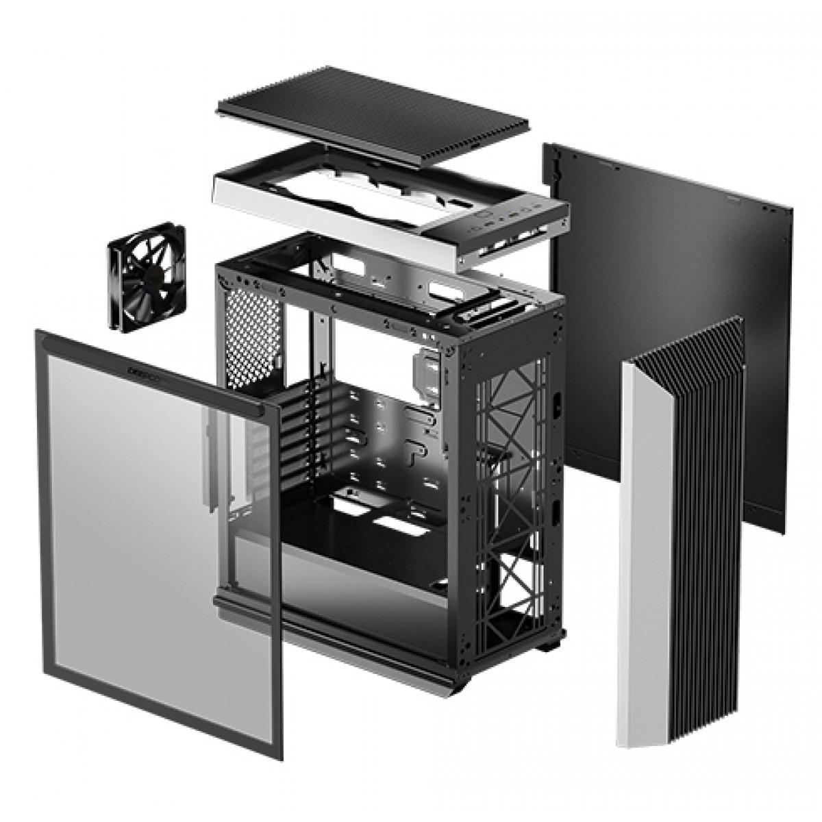 Gabinete Gamer DeepCool, CL500, Mid Tower, Vidro Temperado, Black, R-CL500-BKNMA0N-C-1, Sem Fonte, Com 1 Fan