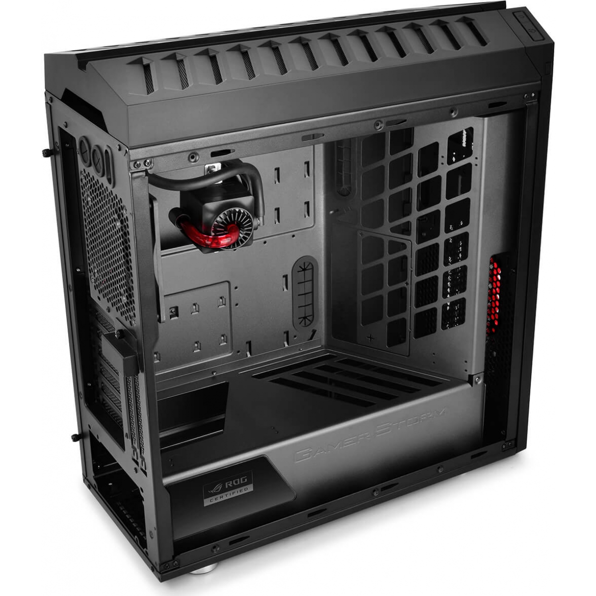 Gabinete Gamer DeepCool Genome Rog, Mid Tower, Com Water Captain 360mm, Lateral Acrílico, Black, Sem Fonte, DP-ATXLCS-GEN-ROG2