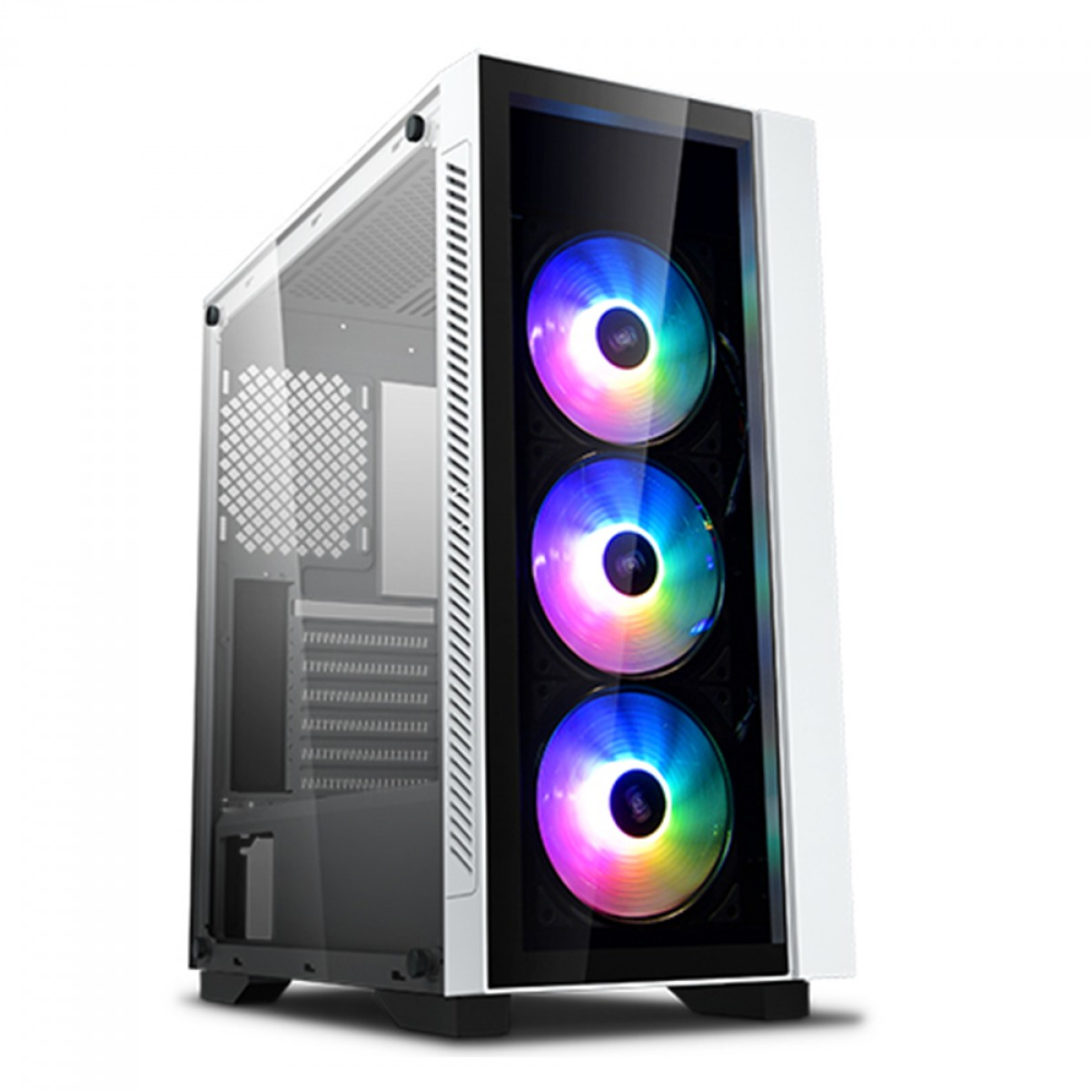 Gabinete Gamer DeepCool MATREXX 55 ADD-RGB V3 WH 3F, Mid Tower, Vidro Temperado, White, Com 3 fans RGB, Sem Fonte