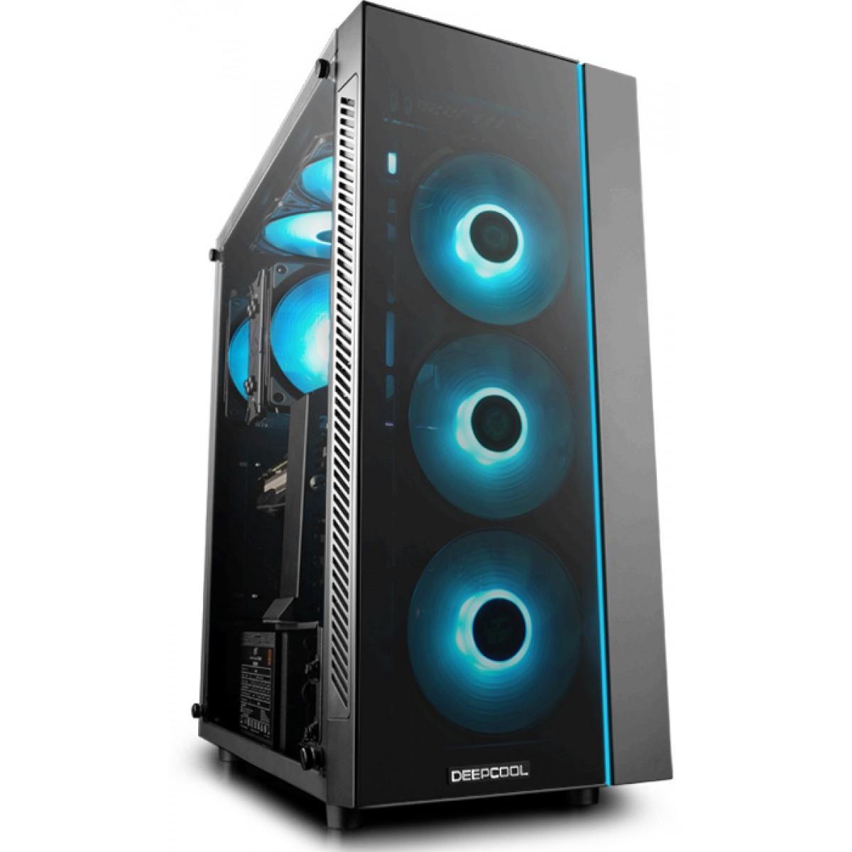 Gabinete Gamer DeepCool Matrexx 55, Mid Tower, Vidro Temperado, Black, Sem Fonte, Sem Fan, DP-ATX-MATREXX55