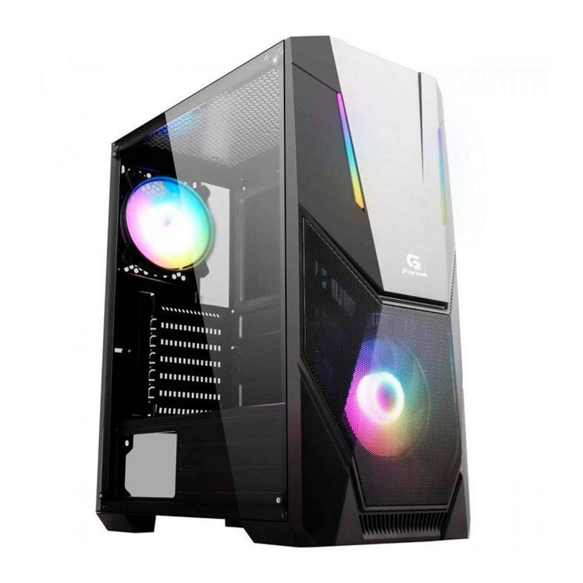 Gabinete Gamer Fortrek Black Hawk RGB, Mid Tower, Black, Sem Fonte, Com 1 Fan, 70570