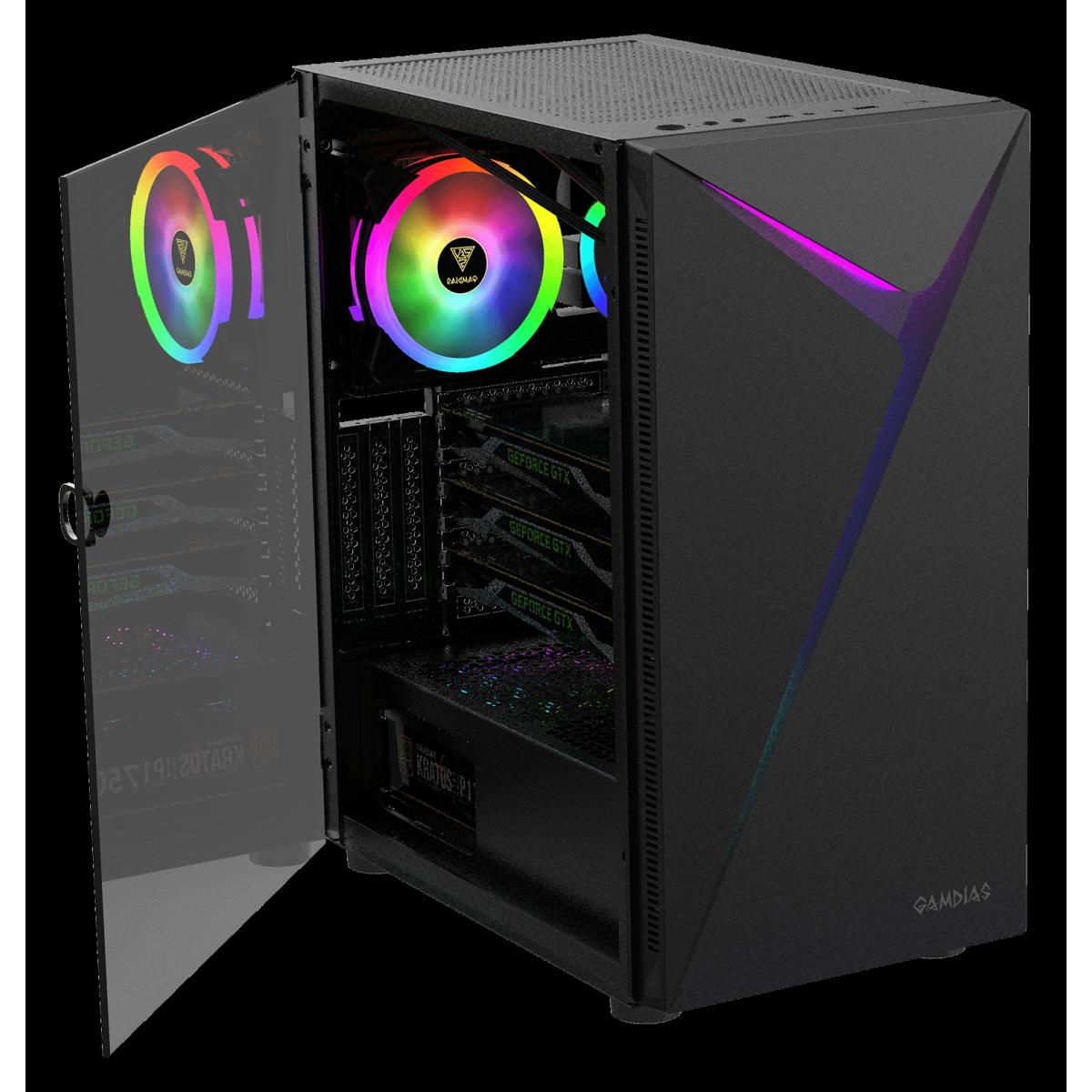 Gabinete Gamer Gamdias Argus E4 Elite, RGB, Mid Tower, Vidro Temperado, Black, Sem fonte, Com 1 Fan