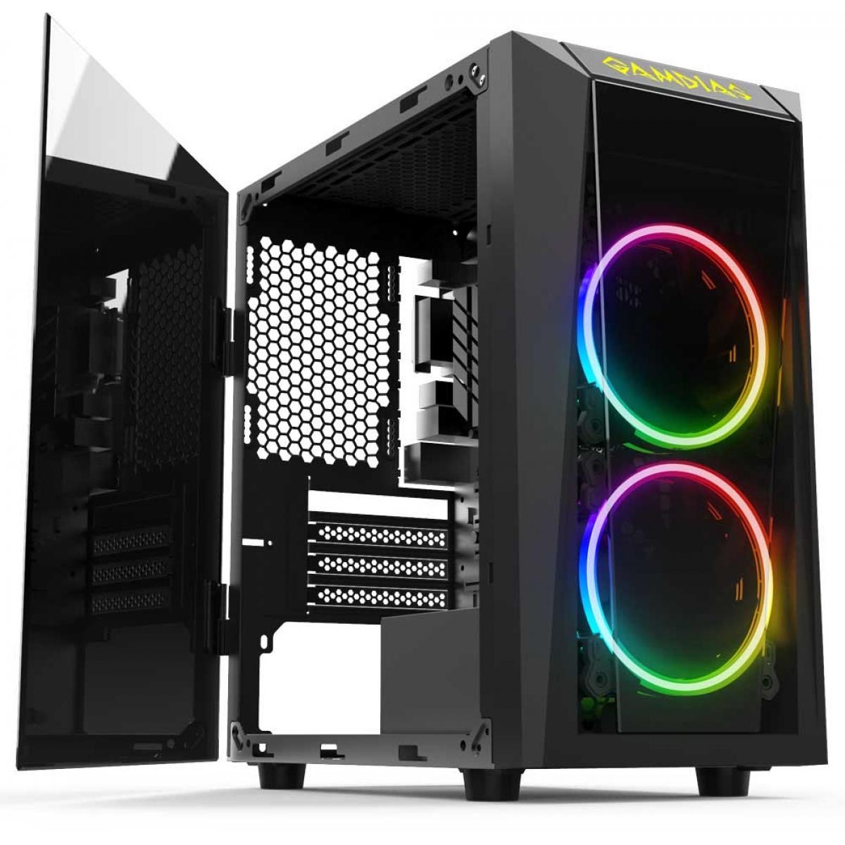 Gabinete Gamer Gamdias Talos E1, Mid Tower, Com 2 Fans RGB, Vidro Temperado, Black, S-fonte