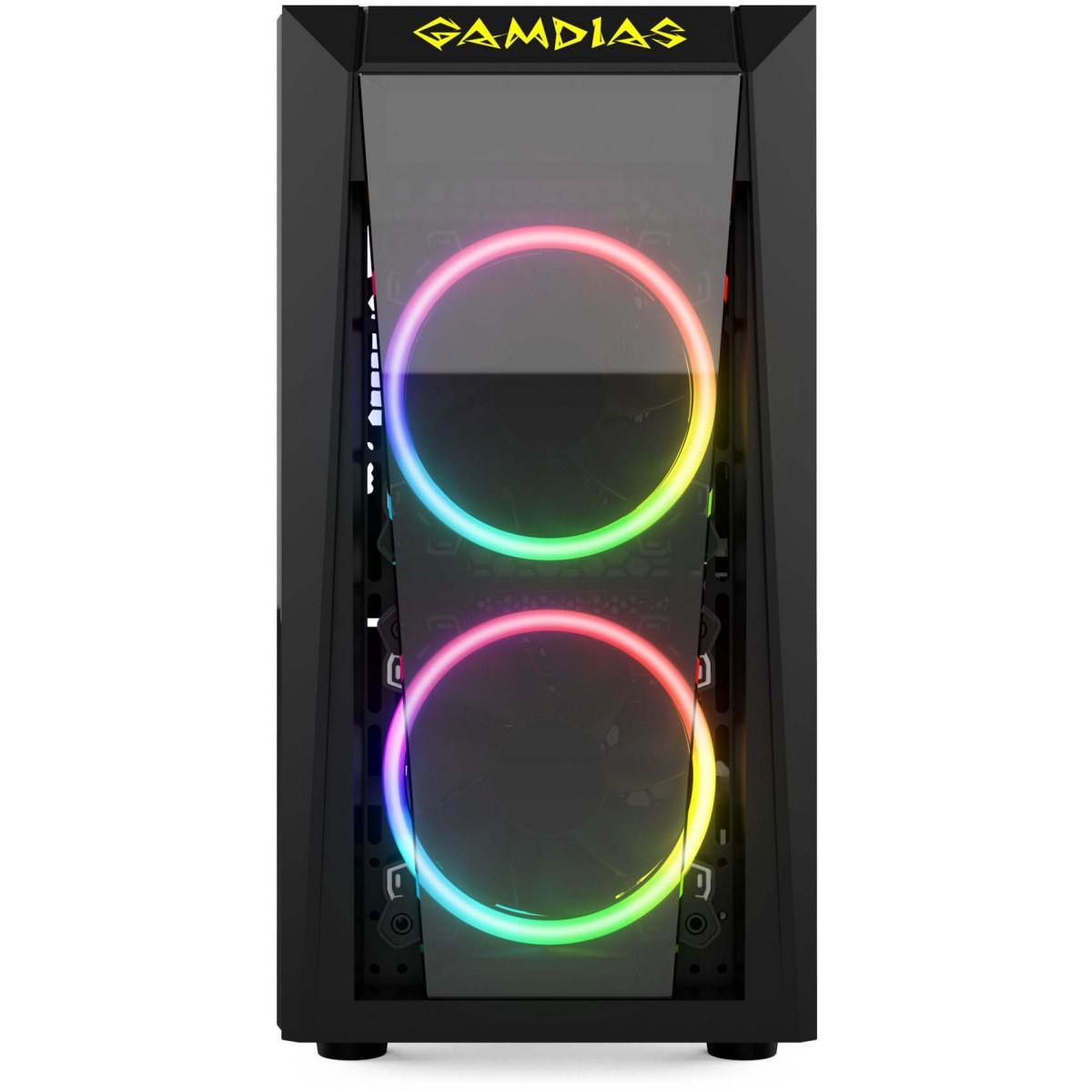 Gabinete Gamer Gamdias, Talos E1, Mini Tower, Vidro Temperado, Black, Sem Fonte, Com 2 Fans