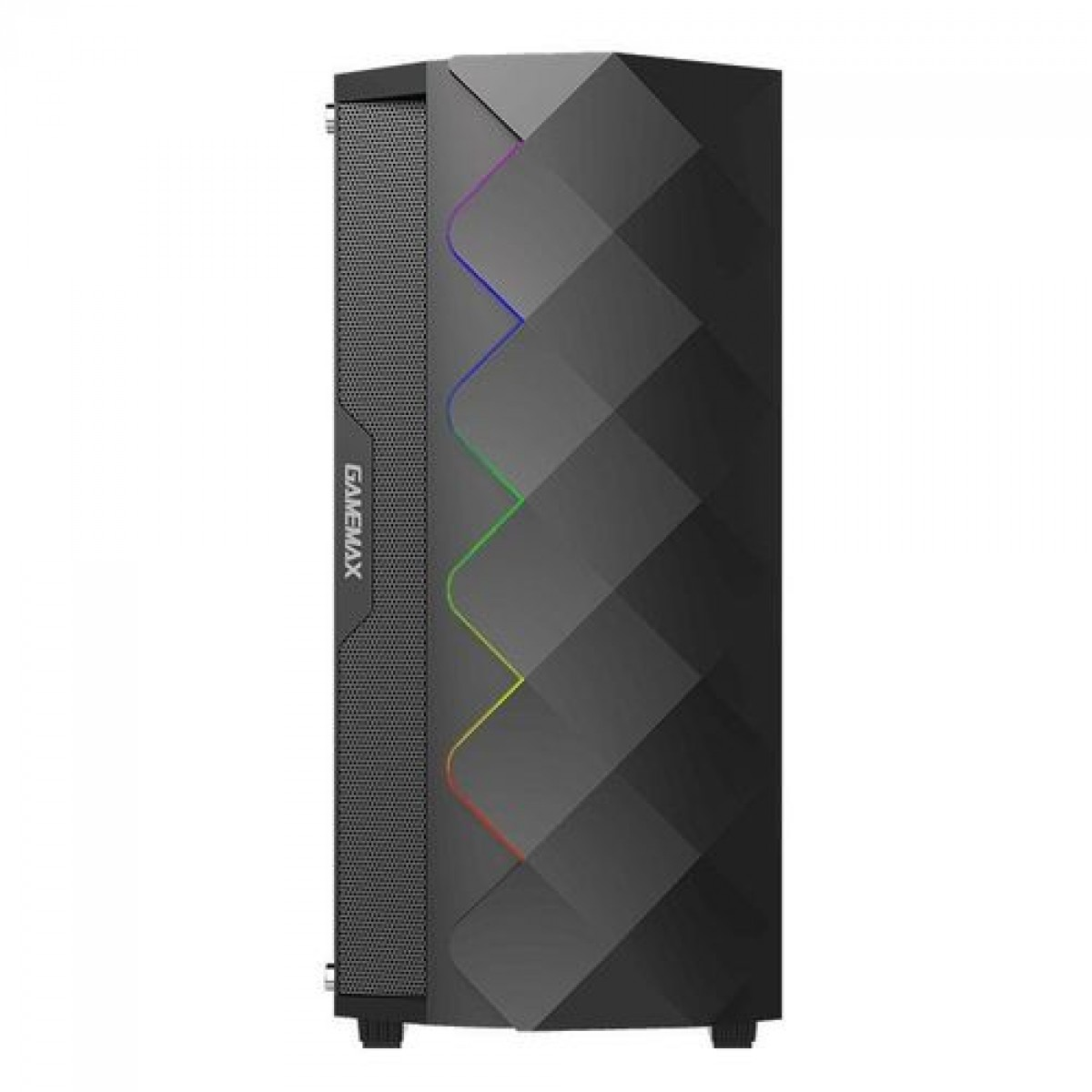 Gabinete Gamer Gamemax Diamond 3601, RGB,  Mid Tower, Com 1 Fan, Vidro Temperado, Black, S-Fonte