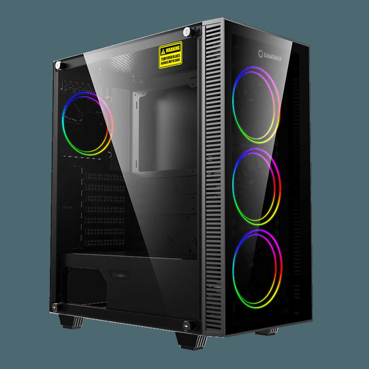 Gabinete Gamer Gamemax Draco XD, Mid Tower, Vidro Temperado, RGB, Black, ATX, Sem Fonte, Com 3 Fans, 3603