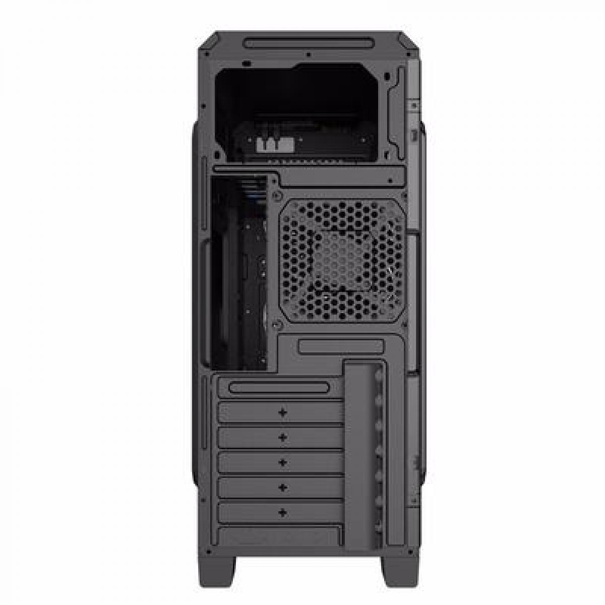 Gabinete Gamer Gamemax ECO G561 Plus, Mid Tower, Com 3 Fans Blue, Black, Sem Fonte
