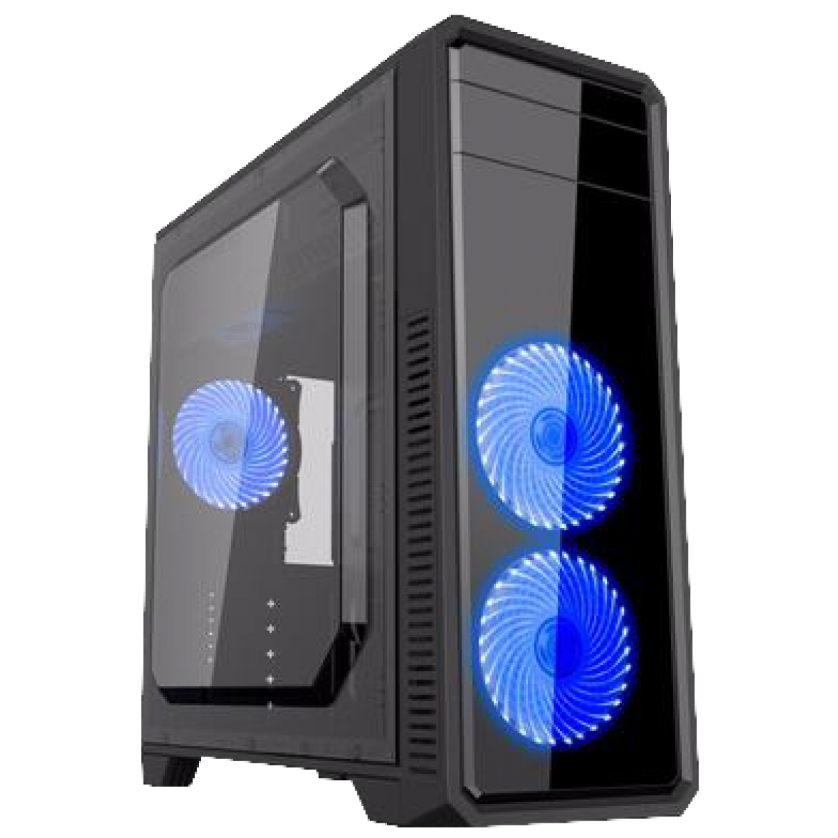 Gabinete Gamer Gamemax ECO G561 Plus, Mid Tower, Com 3 Fans Blue, Black, S-Fonte