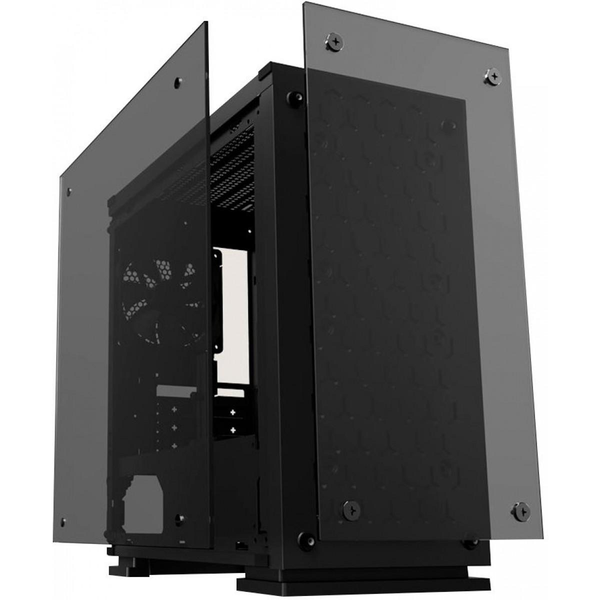 Gabinete Gamer Gamemax H605-TB, Mid Tower, Com 3 Fans RGB, Black, S-Fonte