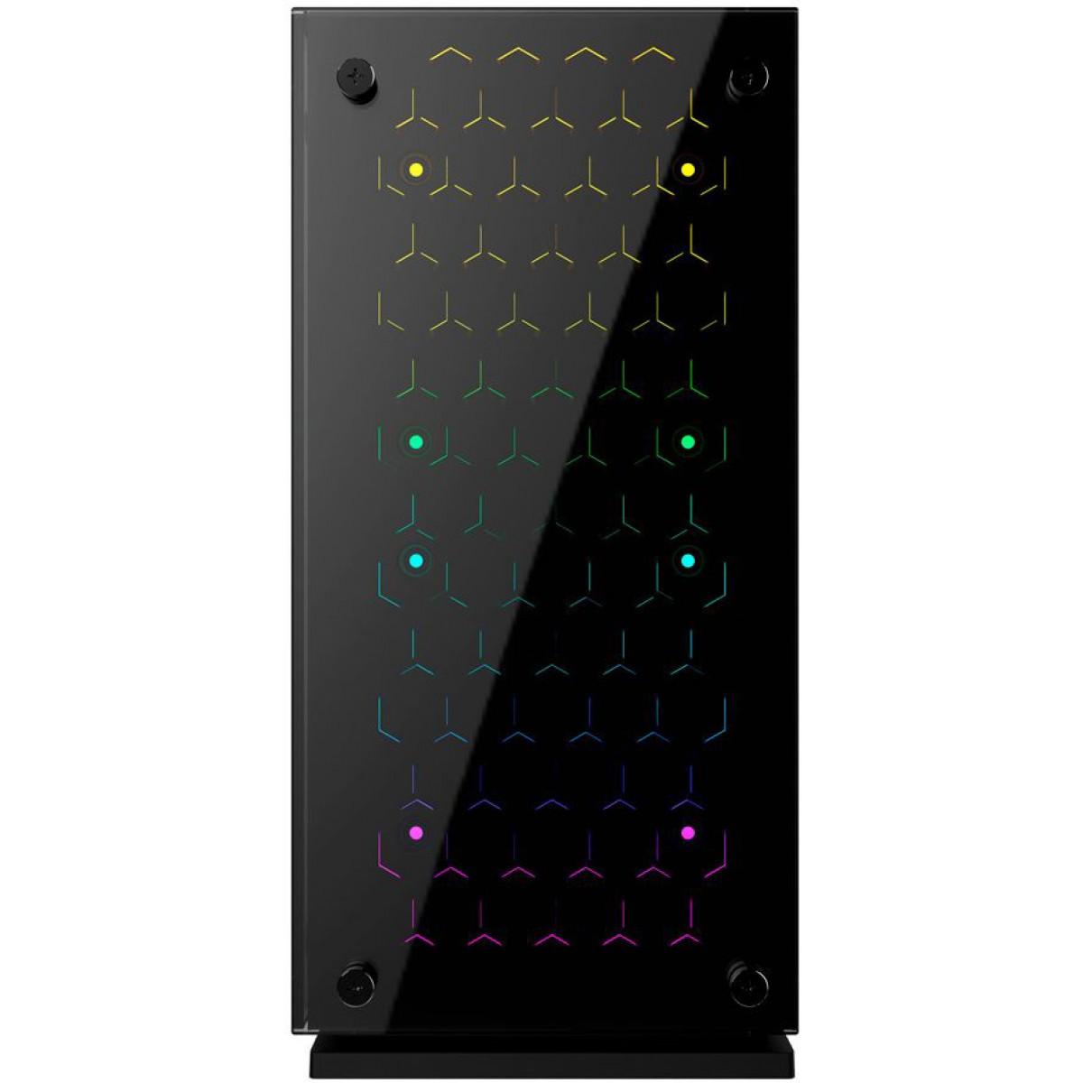 Gabinete Gamer Gamemax H605-TB, Mid Tower, Com 3 Fans RGB, Black, Sem Fonte