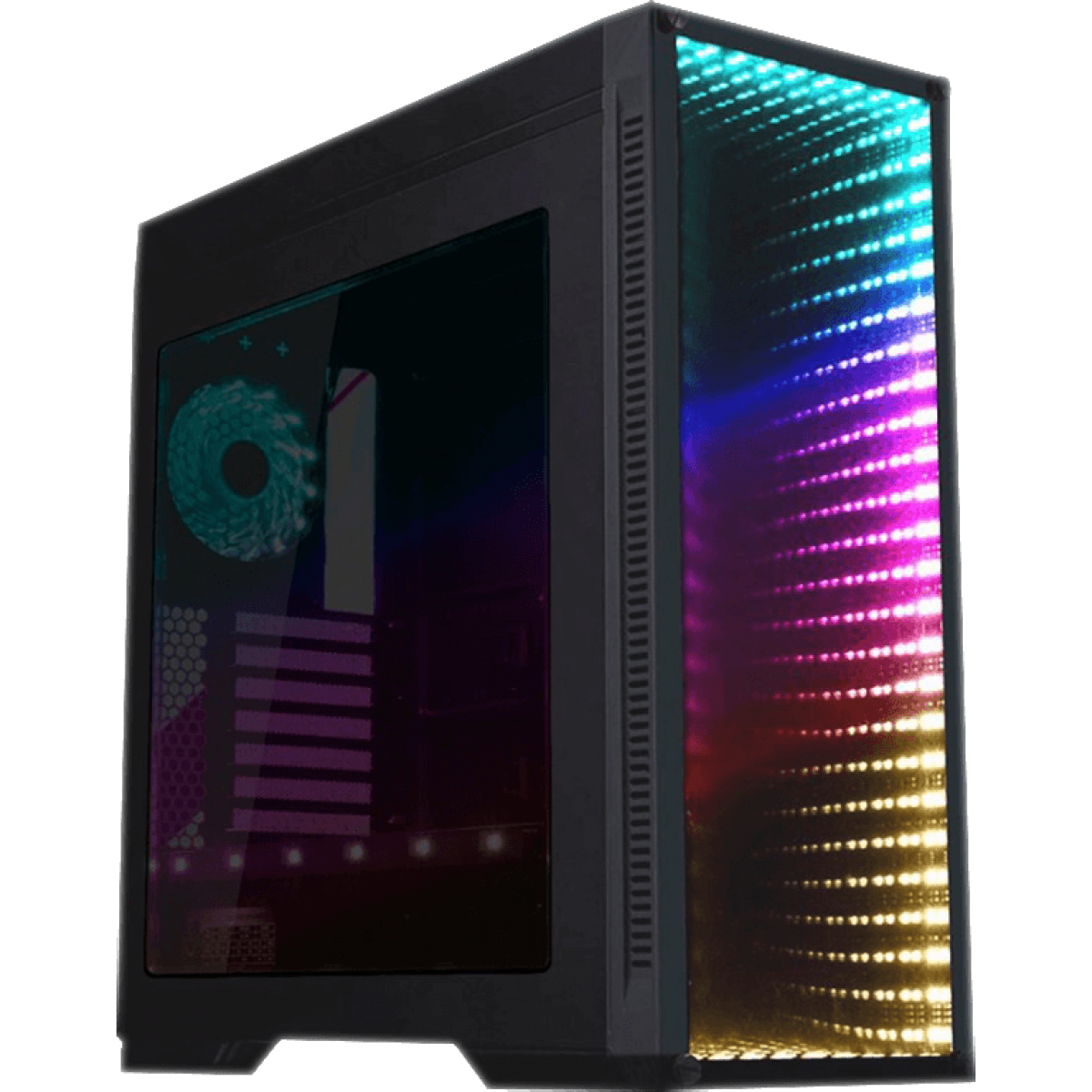 Gabinete Gamer GameMax Infinit M908 GGM RGB, Mid Tower, Com 3 Fans, Lateral Acrílico, Black, Sem Fonte