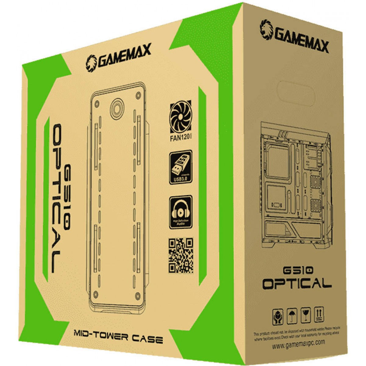 Gabinete Gamer Gamemax Optical G510, Mid Tower, Com 3 Fans, Painel Lateral, Black, Sem Fonte