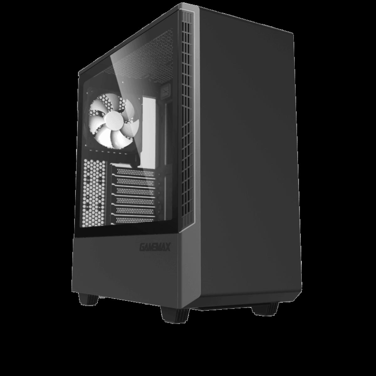 Gabinete Gamer Gamemax Panda,  Mid Tower, Vidro Temperado, Preto, S-Fonte, Com 1 Fan