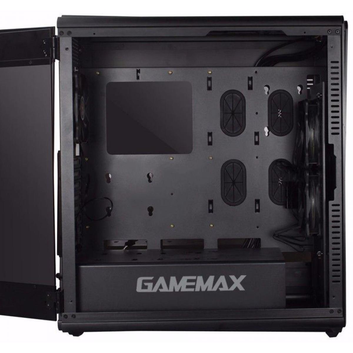 Gabinete Gamer Gamemax Raider X, Full Tower, Com 2 Fans, Lateral em Acrílico, Black, S-Fonte