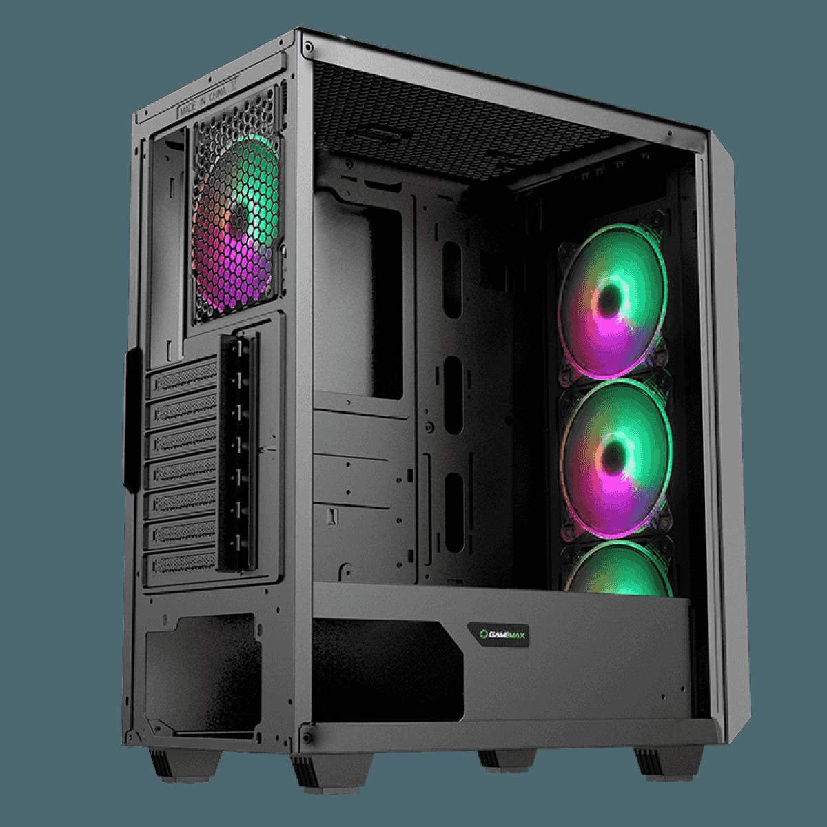 Gabinete Gamer Gamemax Revolt 3606, RGB,  Mid Tower, Vidro Temperado, Preto, S-Fonte, Com 3 Fans, GAMEMAX REVOLT - BLACK
