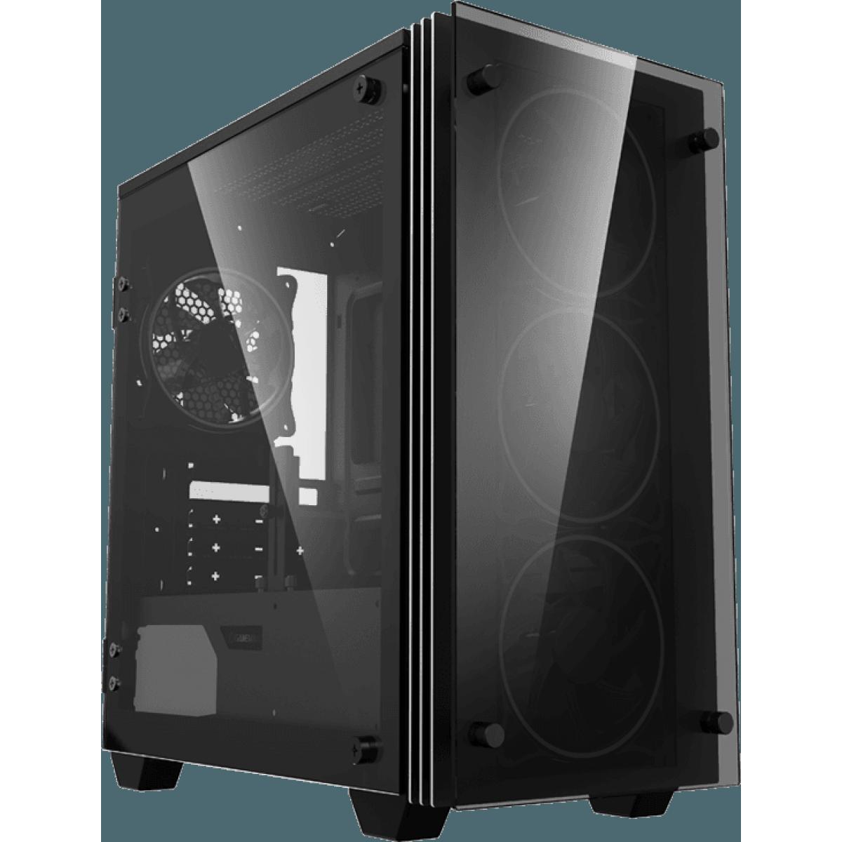 Gabinete Gamer GameMax Stratos H609 ARGB, Mini Tower, Vidro Temperado, Black, Sem Fonte, Com 4 Fans, H609