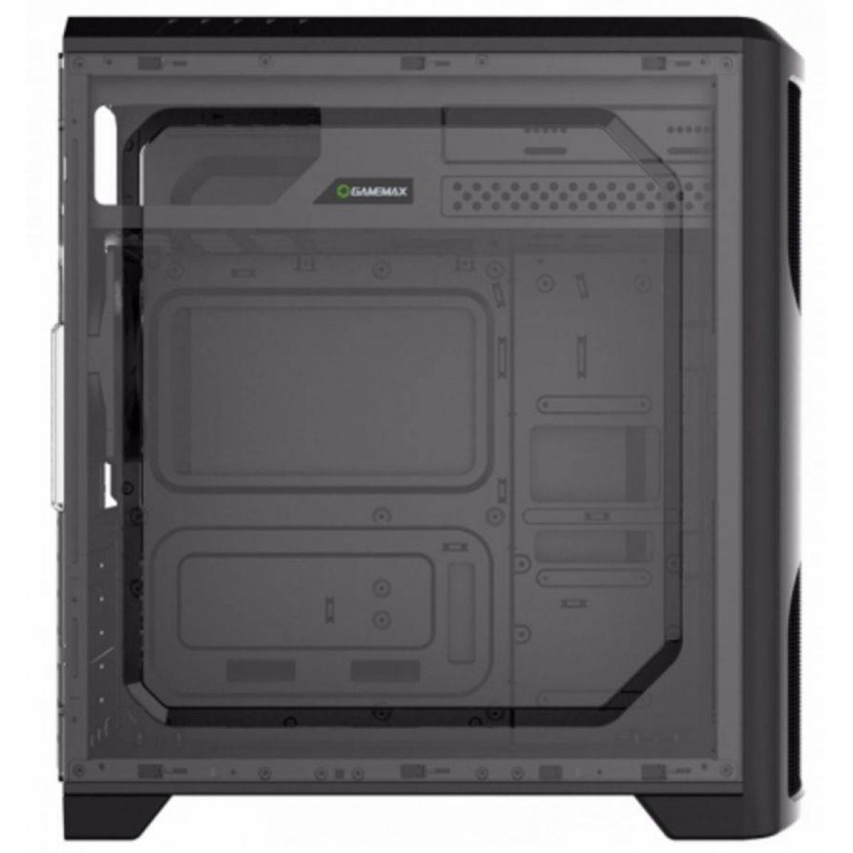 Gabinete Gamer Gamemax Wave G562W, Mid Tower, Com 1 Fan Green, Lateral em Acrílico, Black, Sem Fonte
