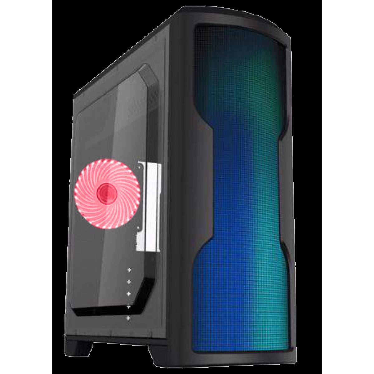 Gabinete Gamer Gamemax Wave G562W, Mid Tower, Com 1 Fan Red, Lateral em Acrílico, Black, Sem Fonte