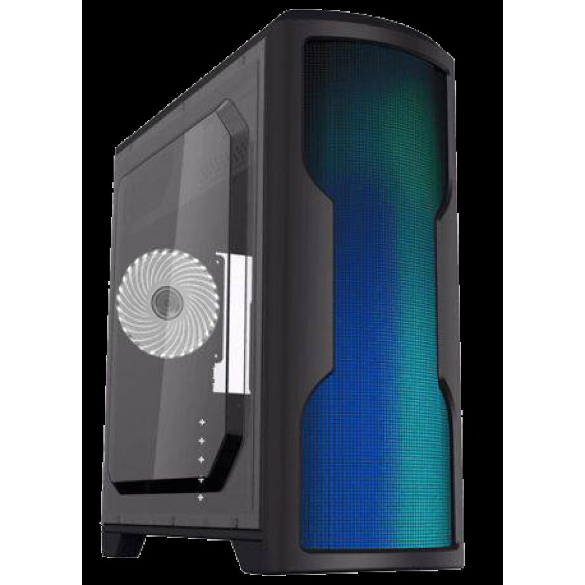 Gabinete Gamer Gamemax Wave G562W, Mid Tower, Com 1 Fan White, Lateral em Acrílico, Black, Sem Fonte