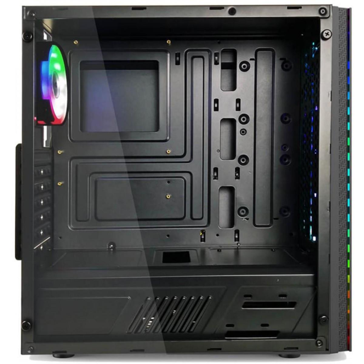 Gabinete Gamer Home Tech RGB, Mid Tower, Com 1 Fan, Lateral em Acrílico, Black, S-Fonte, HTX910B