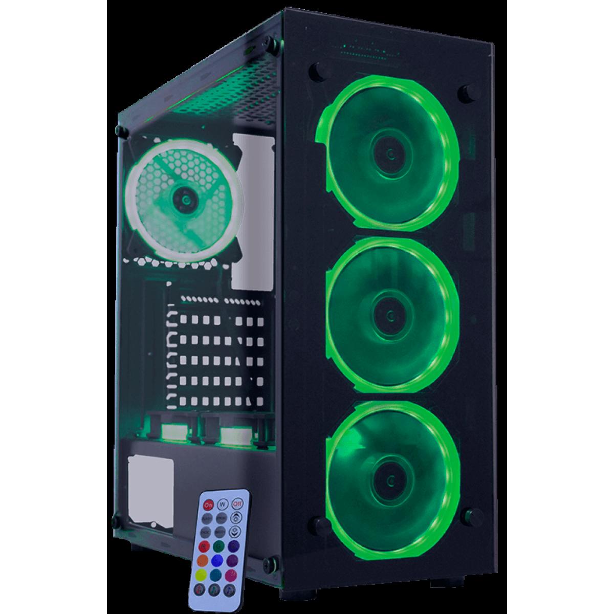 Gabinete Gamer K-mex Atlantis I, Mid Tower, Com 3 Fans RGB, Vidro Temperado, Black, S-Fonte, CG-01N9