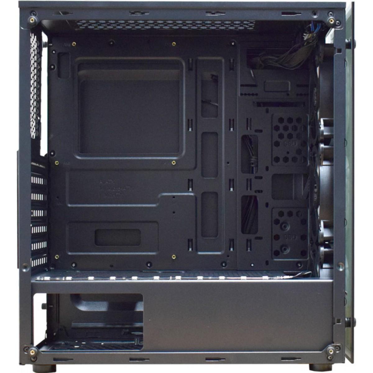 Gabinete Gamer K-mex Atlantis IV, Mid Tower, Com 3 Fans RGB, Vidro Temperado, Black, S-Fonte, CG-04N9
