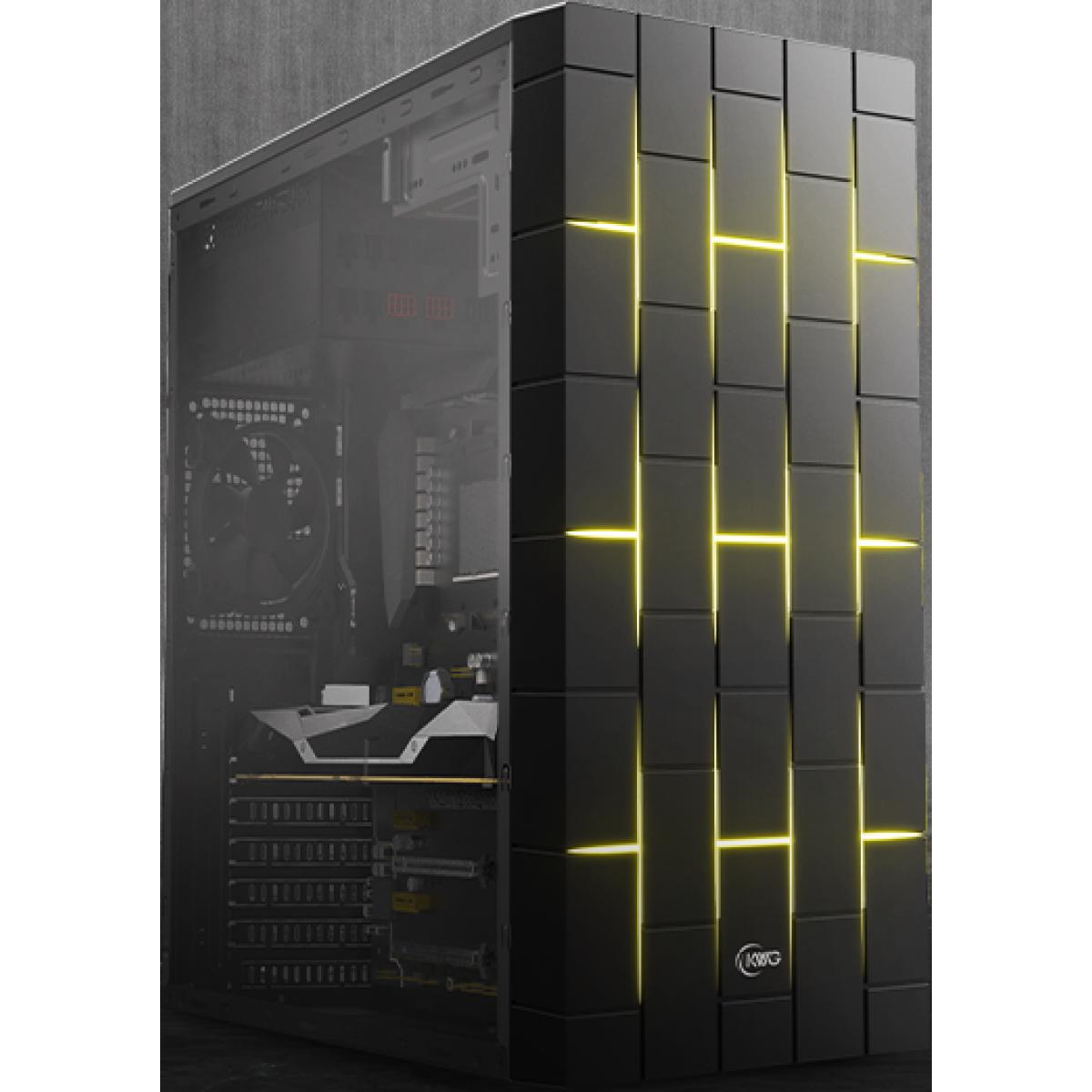 Gabinete Gamer KWG Vela M3, Mid Tower, Black, Sem Fonte, Com 2 Fans RGB