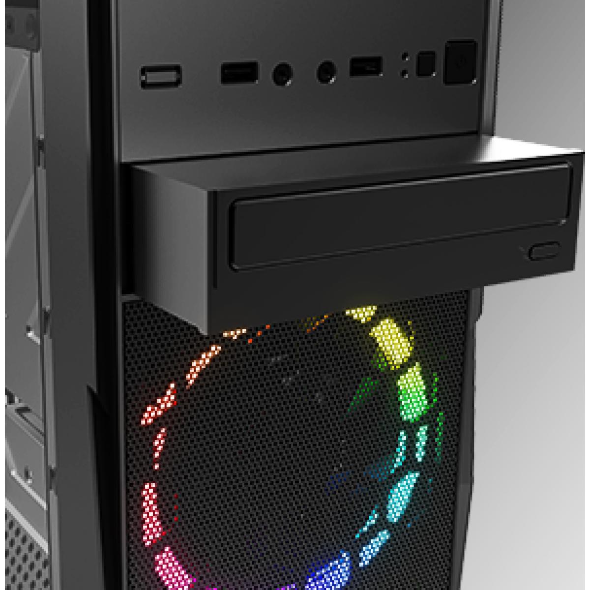 Gabinete Gamer KWG Vela M4, Mid Tower, RGB, Black, Sem Fonte, Com 2 Fans