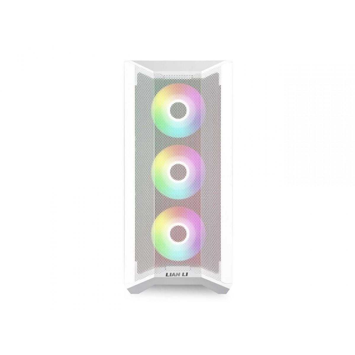Gabinete Gamer Lian Li, Lancool II Mesh RGB, Mid Tower, Vidro Temperado, White, Sem Fonte, Com 3 Fans