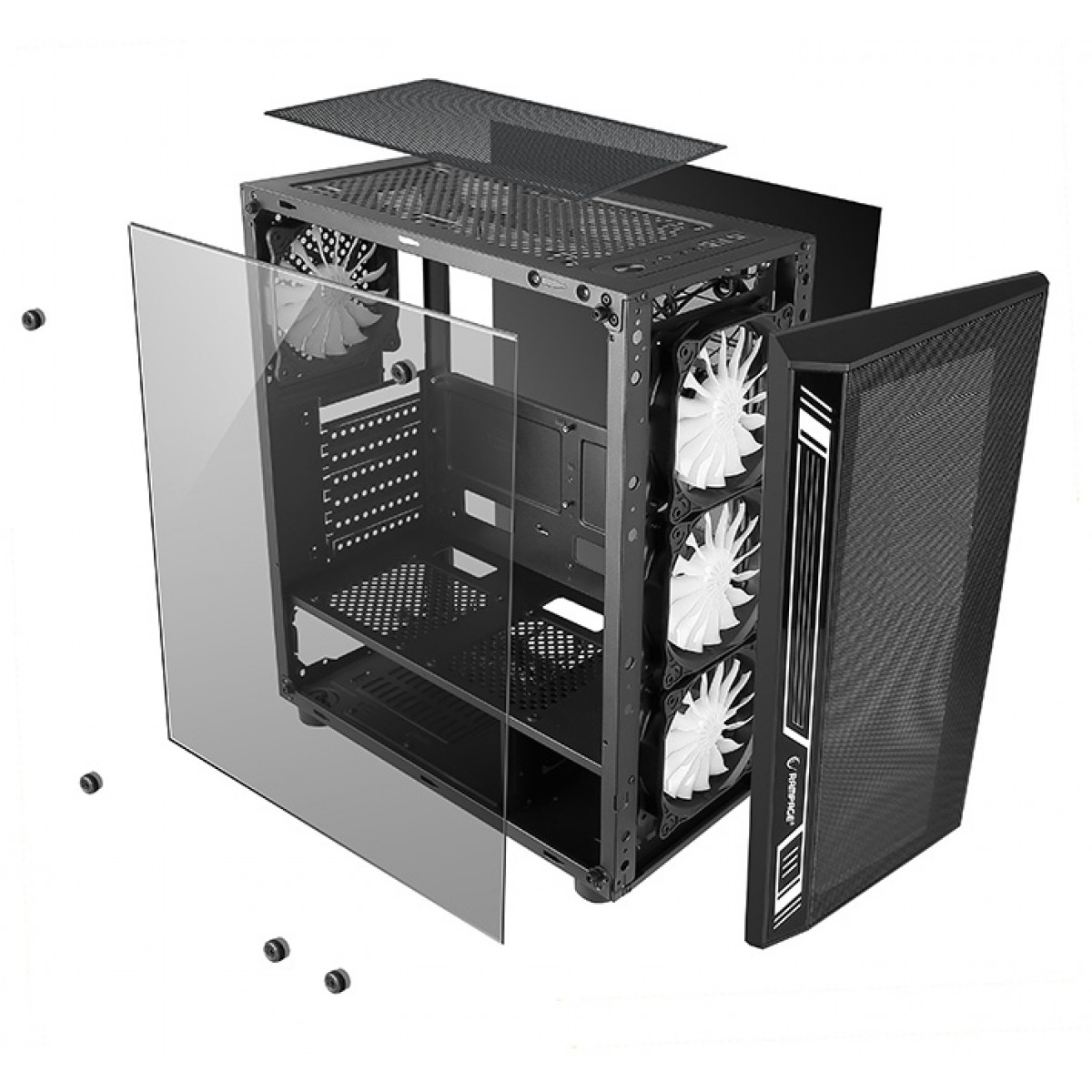Gabinete Gamer liketec Dex RGB, Mid Tower, Vidro Temperado, Black, Sem Fonte, Com 3 Fans