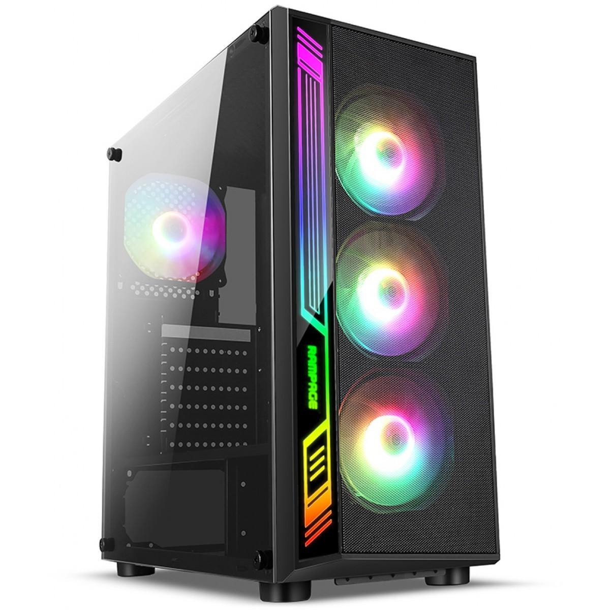 Gabinete Gamer liketec Dex RGB, Mid Tower, Vidro Temperado, Black, Sem Fonte, Com 4 Fans
