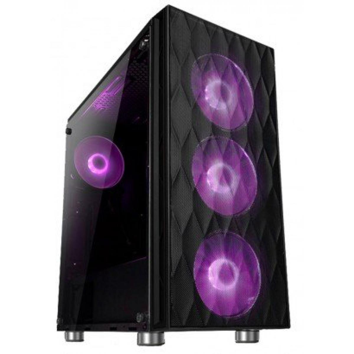 Gabinete Gamer liketec Horus RGB, Mid Tower, Vidro Temperado, Black, Sem Fonte, Com 3 Fans RGB